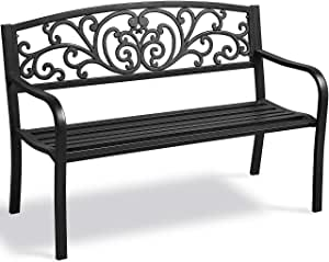 Yaheetech Garden Bench Outdoor Bench Patio Bench Cushions for Outdoor, Park, Yard, Entryway, Iron Metal Frame Furniture, Patio Porch Clearance, Black