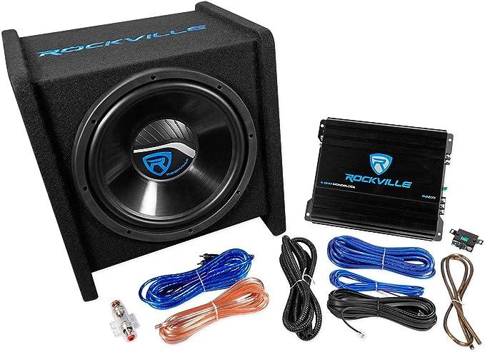 """Rockville RV12.2A 1200w Dual 12/"""" Car Subwoofer Enclosure+Mono Amplifier+Amp Kit"""