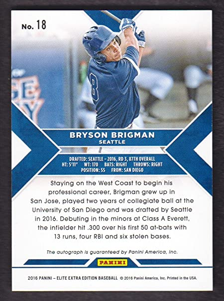 2016 Elite Extra Edition Baseball Autograph #18 Bryson ...