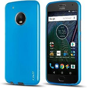 J&D Case Compatible for Motorola Moto G5 Plus Case, Drop Protection Slim Cushion Shock Resistant Protective TPU Slim Case for Moto G5 Plus (5.2 inch) Bumper Case, not for Moto G5 5.0 inch, Blue