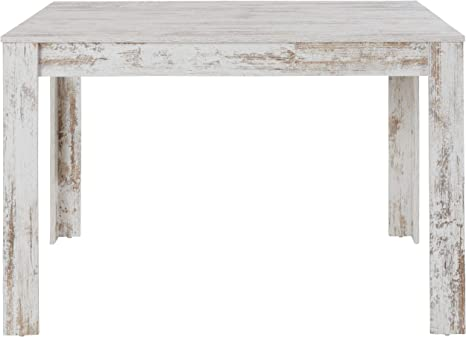 Loft24 Esstisch 120 Cm Weiß Esszimmertisch Landhaus Rechteckige Tischplatte Holz Küchentisch Mdf Shabby Chic 120 X 80 X 75 Cm Antikweiß