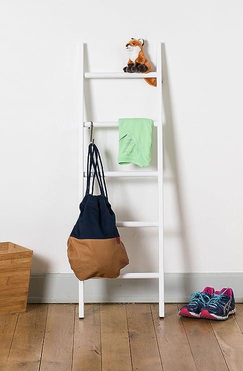 Escalera estilo perchero para niños, color blanco pintado, madera maciza de haya, Valoración de 5 estrellas, fabricada en Alemania, muebles infantiles, galán: Amazon.es: Hogar