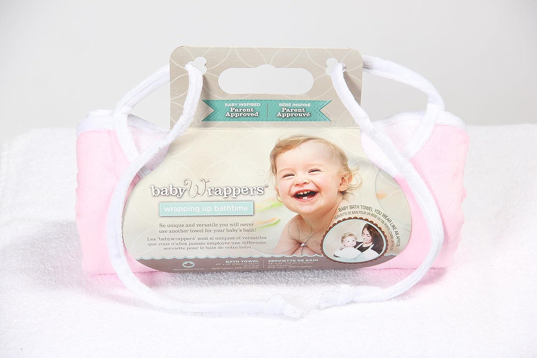 Babywrapper Bath Apron/Towel Pink Velour Terry with white velour trim Size 29X 43 Pisces Design