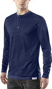 Woolly Clothing Men's Merino Long Sleeve Henley - Moisture Wicking, Anti-Odor, Casual Athletic wear