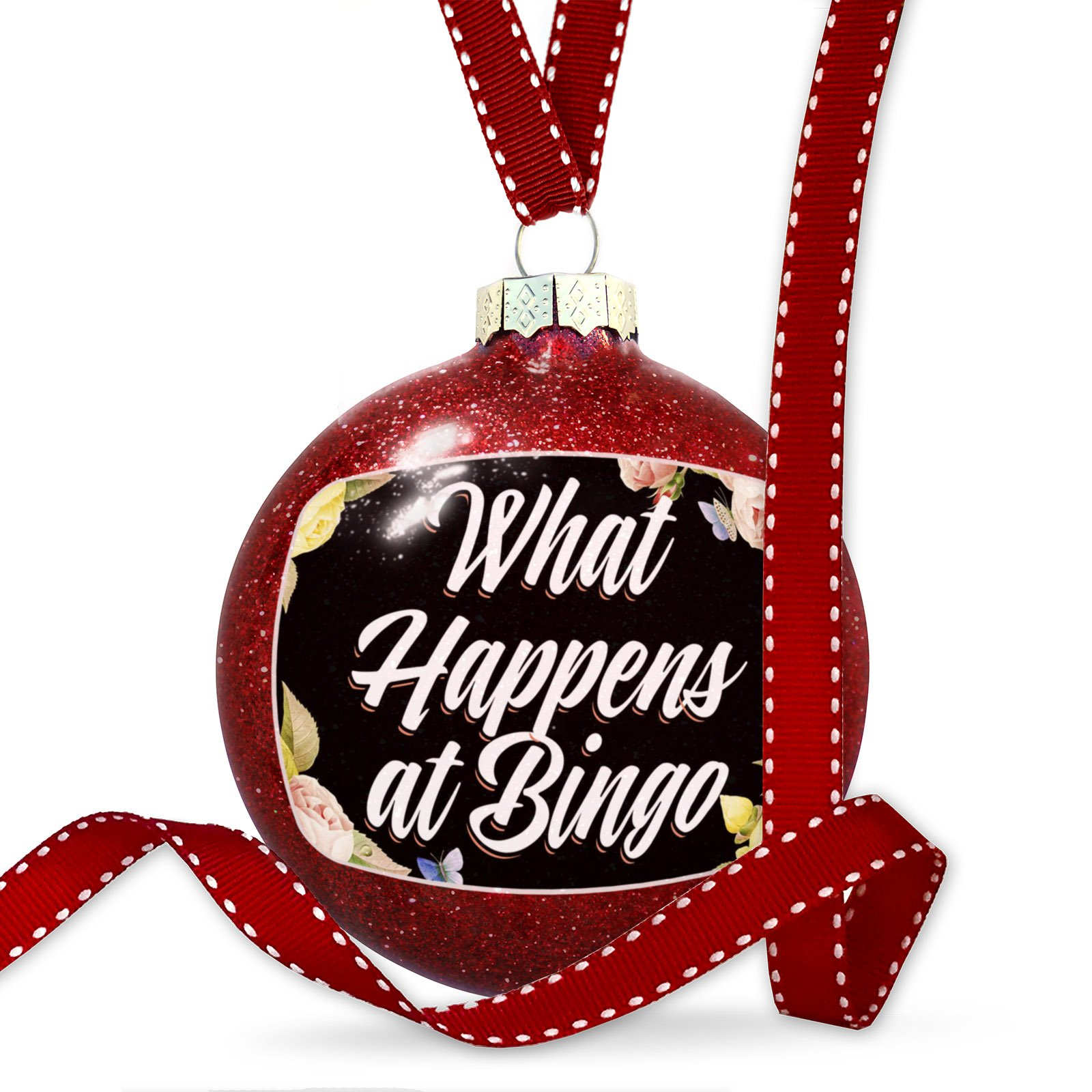 Christmas Decoration Floral Border What Happens at Bingo Ornament by NEONBLOND