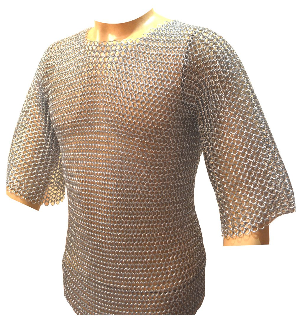 Zinc Plated Chainmail Shirt BUTTED Chainmail Haubergeon Medieval Costume Armour ABS by Medieval-ABS