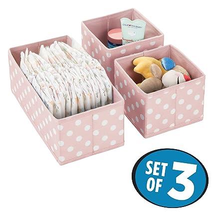 mDesign Juego de 3 cajas de almacenaje para habitaciones infantiles o baños – Cestas organizadoras en