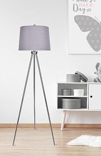 62″ Modern Brushed Nickel Floor Lamp w/ Tripod Base Design Grey Tapered Drum Shade
