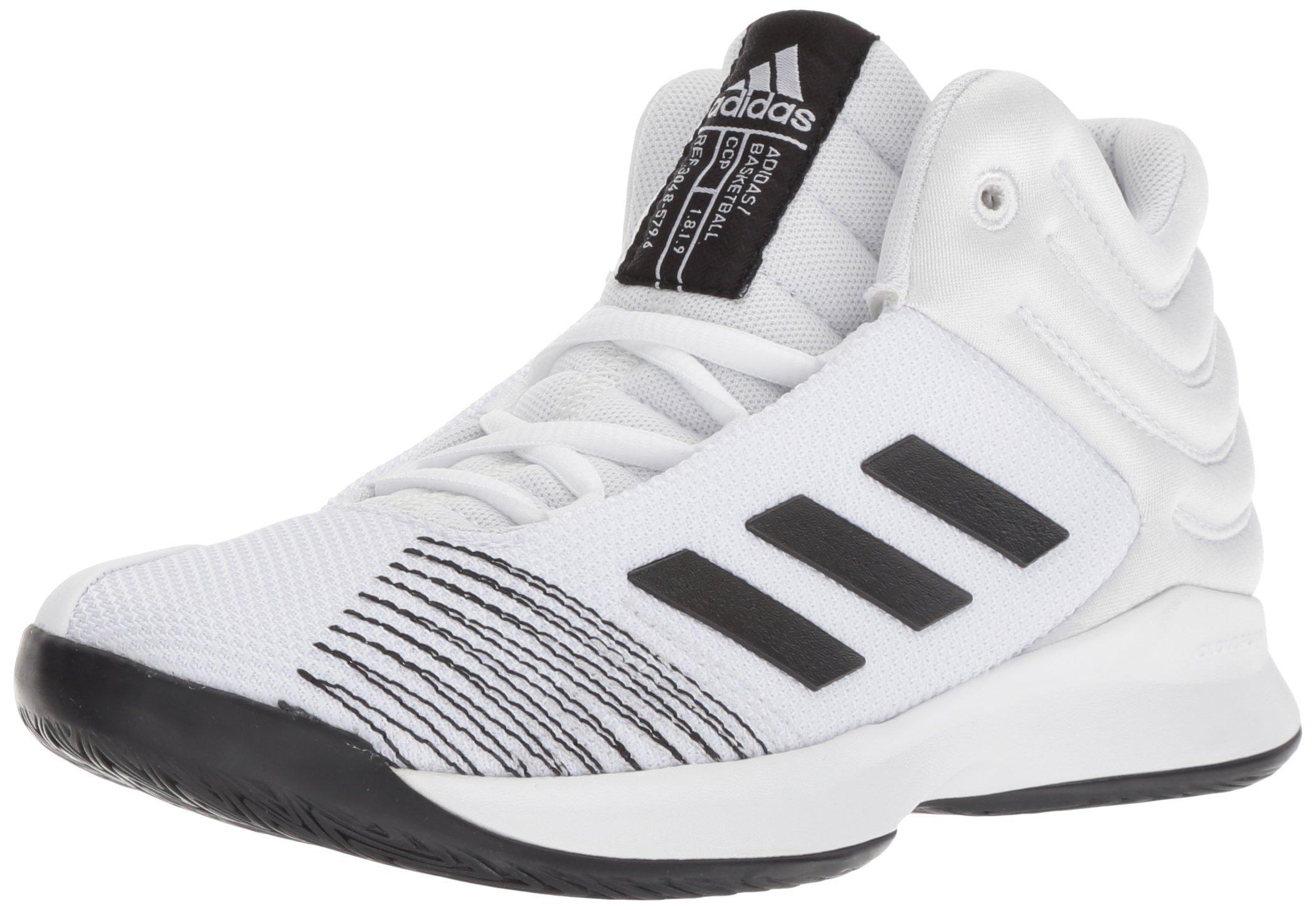 adidas Unisex Pro Spark 2018 Basketball Shoe, White/Black/Grey, 1 M US Little Kid