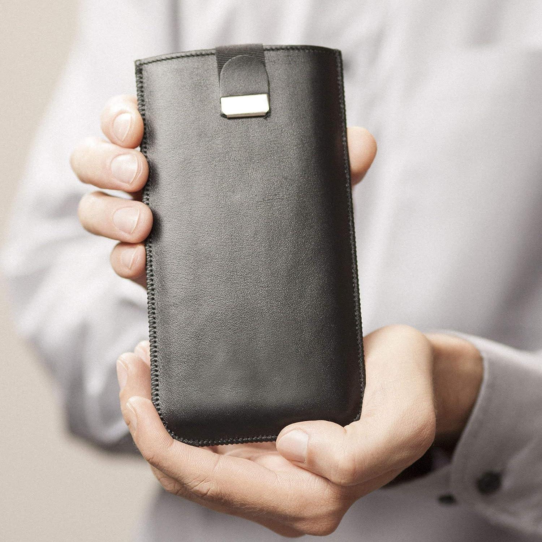 Housse en cuir pour iPhone XS MAX, étui noir cover coque case pour pochette en mousse, également idéal pour 8 Plus, 7 Plus, 6 Plus, 6S Plus