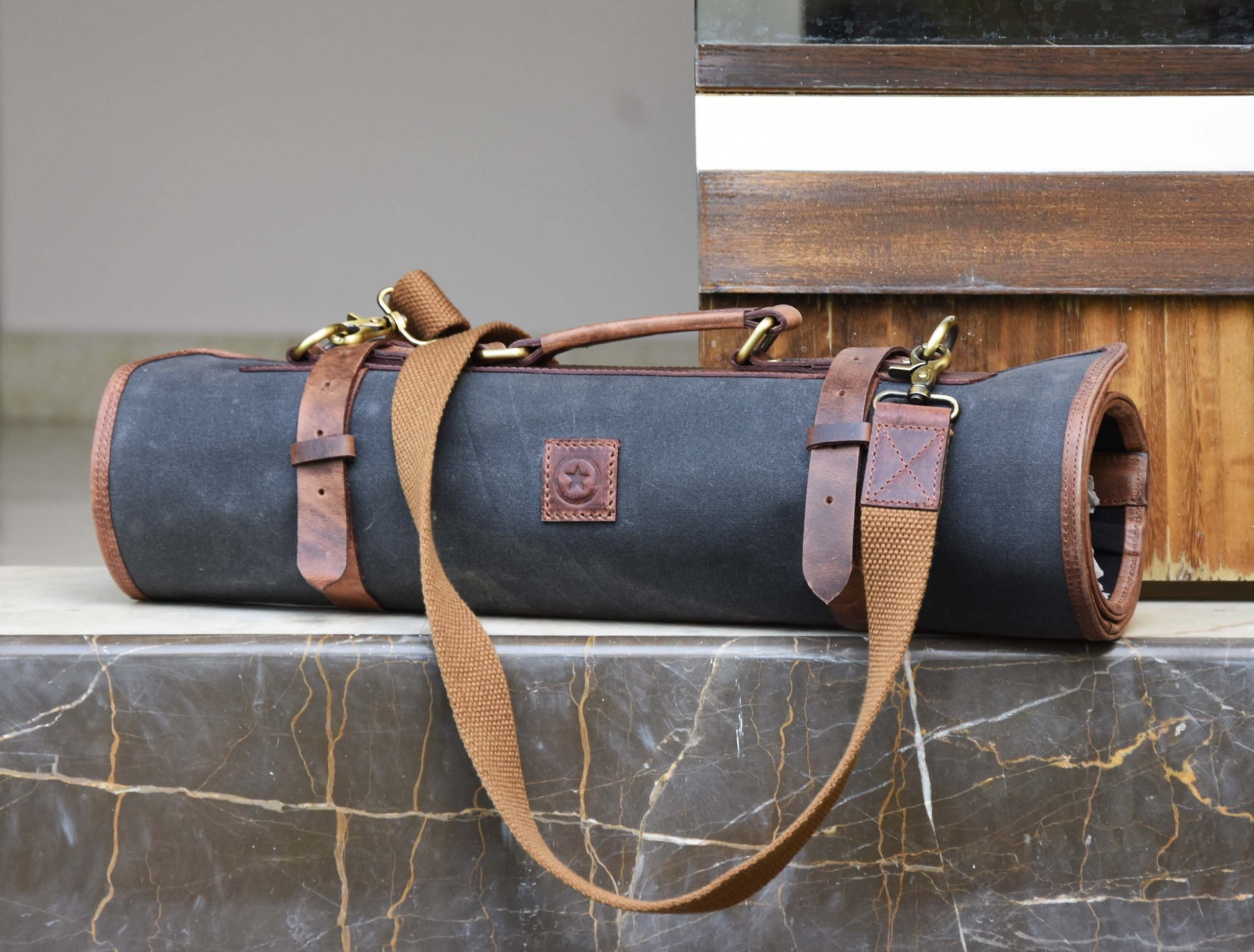 Leather Knife Roll Chef Roll Storage Bag Aaron Leather (Fossil Grey) by Aaron Leather (Image #7)