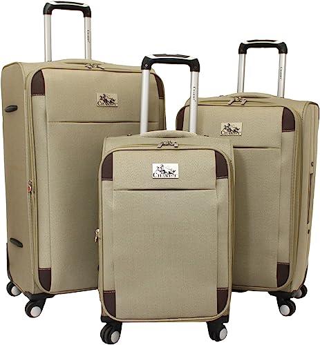 Chariot Milan 3-Piece Lightweight Upright Spinner Luggage Set, Khaki, One Size