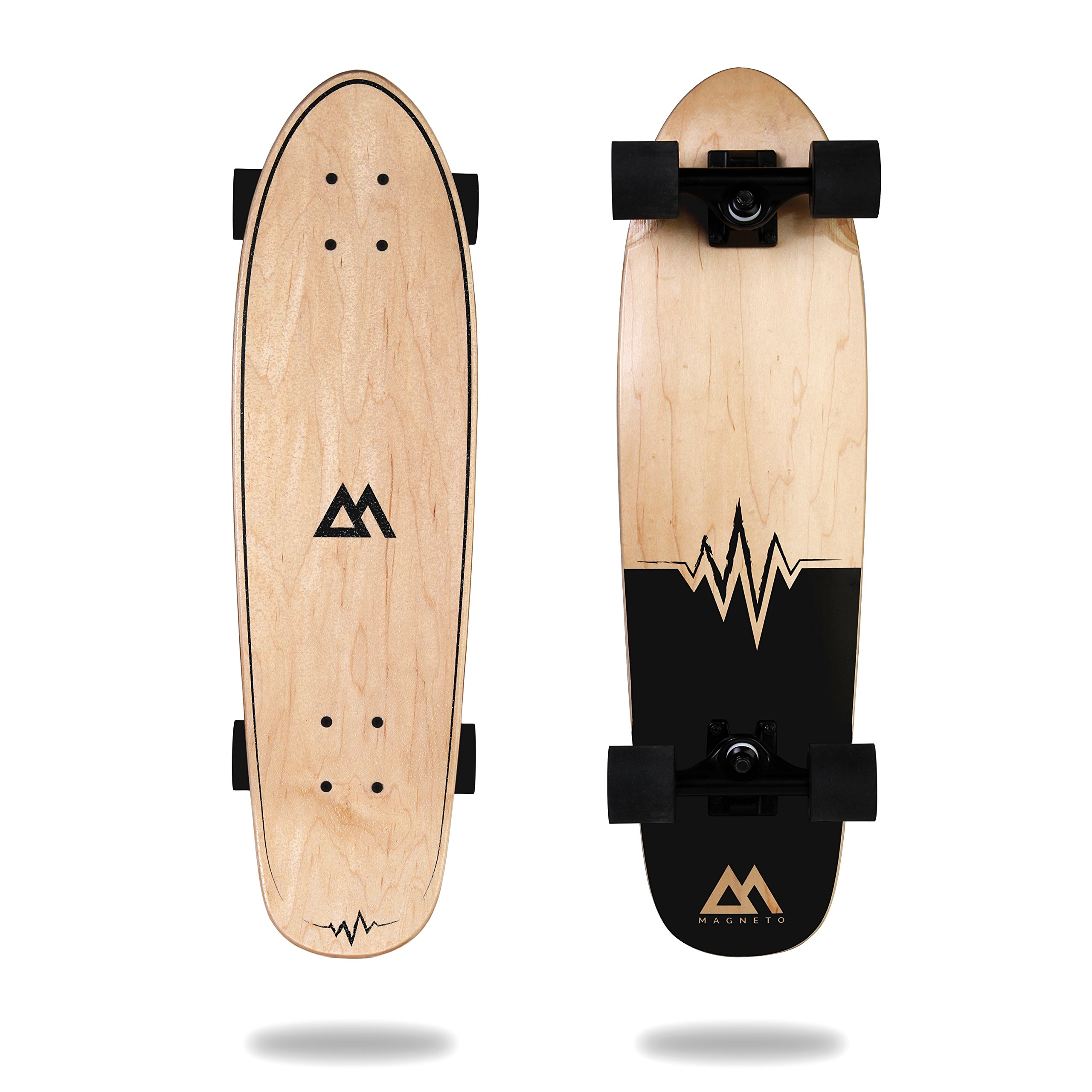Magneto Mini Cruiser Skateboard Cruiser | Short Board | Canadian Maple Deck - Designed for Kids, Teens and Adults … (heart beat)