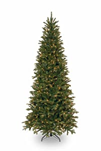 National Tree 7.5 Foot Tiffany Fir Slim Tree with 600 Clear Lights (PETF3-304-75)
