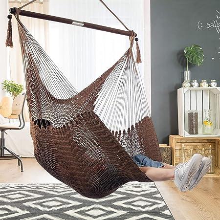 Amazon Com Large Caribbean Hammock Hanging Chair Durable Polyester Hanging Chair Swing Chair W Foldable Spreader Bar For Indoor Outdoor Garden Living Room Brown Garden Outdoor