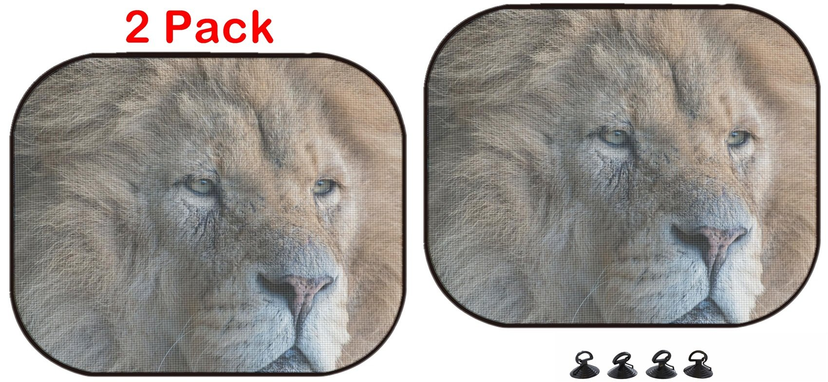 Luxlady Car Sun Shade Protector Block Damaging UV Rays Sunlight Heat for All Vehicles, 2 Pack Lion Headshot Close up Image ID 25241584