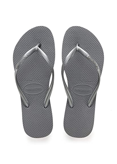 9aefc3f147a9 Havaianas Women s Slim Steel Grey Rubber Flip-Flops and House Slippers -  3.5 UK