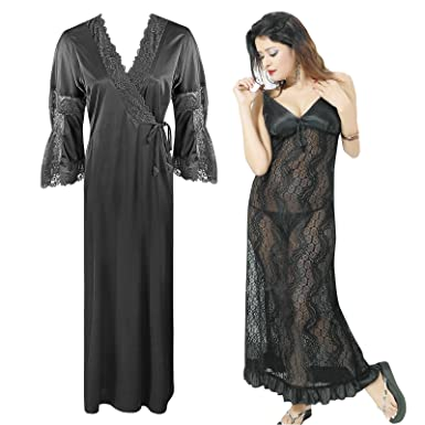 29294063af The Orange Tags Womens Satin LACE Nightdress Ladies Nighty Bridal Honeymoon  Babydoll-Black-One