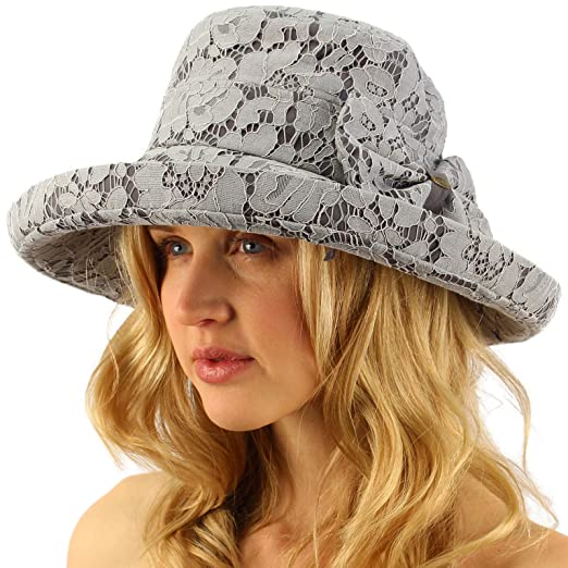Victorian Style Hats, Bonnets, Caps, Patterns Lace Overlay Travel Foldable Summer Derby Beach Pool Bucket Wide Sun Hat $16.95 AT vintagedancer.com