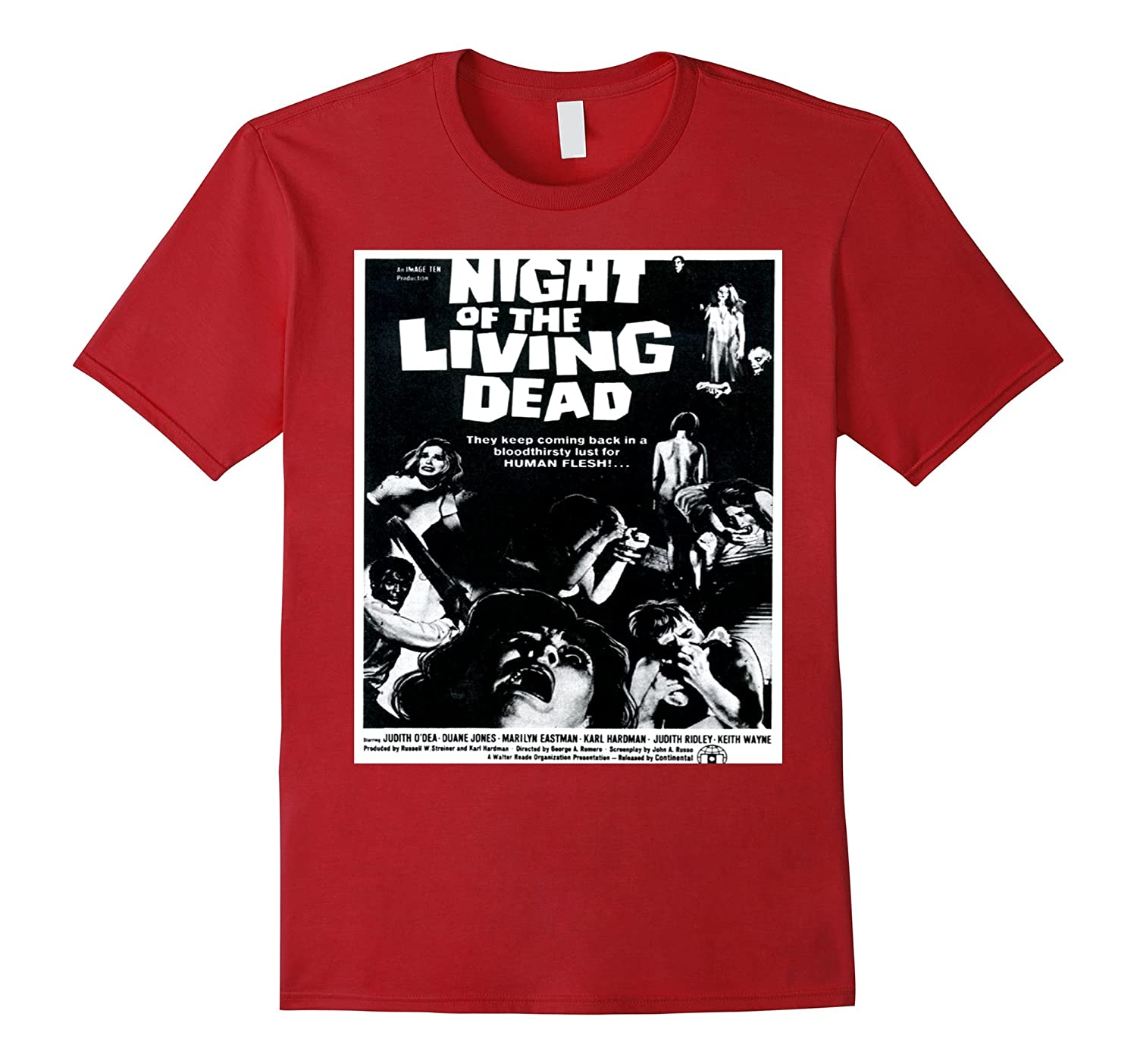 Zombie Living Dead - Classic Retro Horror Film T Shirt-FL