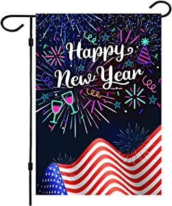 Happy New Year Garden Flag,New Years Flag 12.5 x 18 Inch Double Sided Fireworks Happy New Year House Flag for New Year Greettings or Decoration