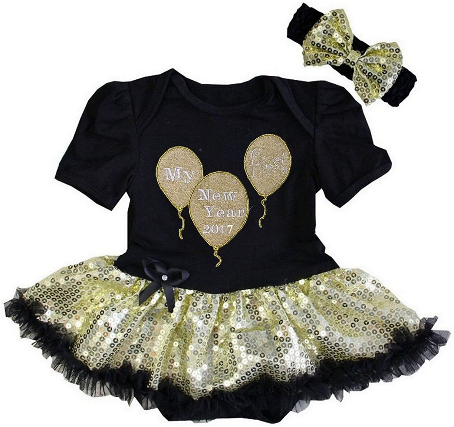 Amazon Com G G Cute First New Years 2017 Baby Girl Tutu Dress Outfit Black Gold Clothing
