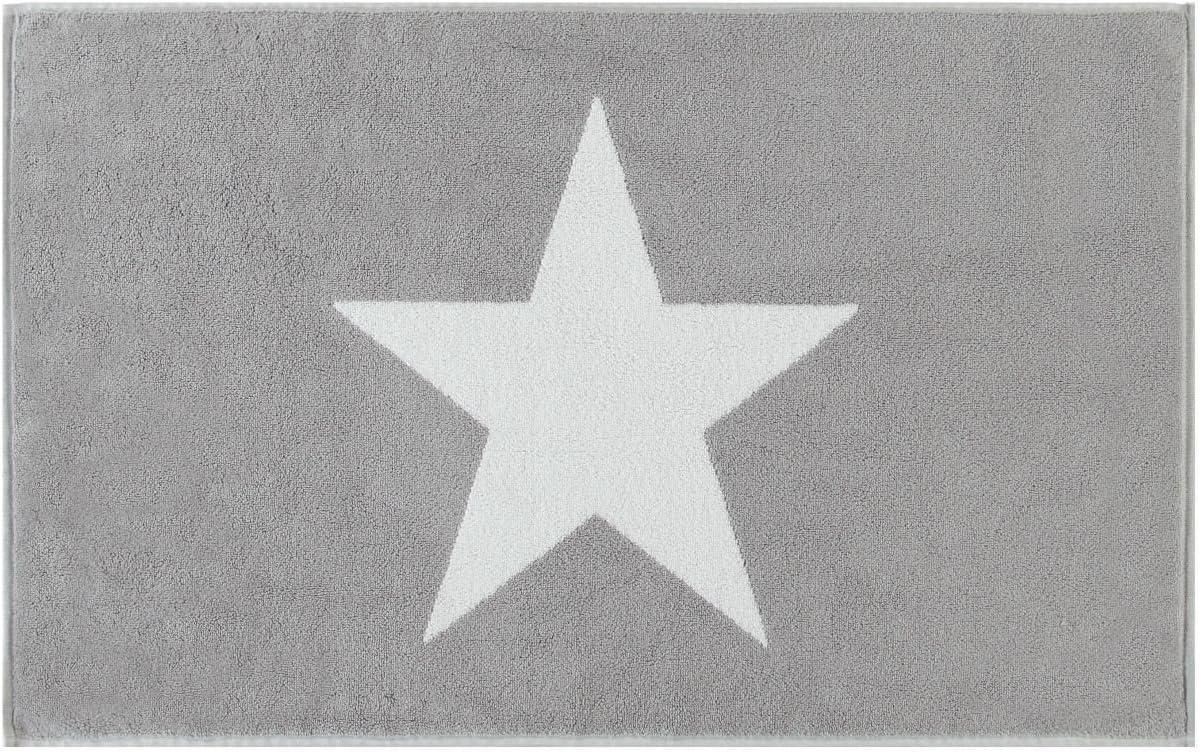 524 colore argento 50 x 80 cm 76 Fb Cotone Caw/ö Tappetino da bagno con stella