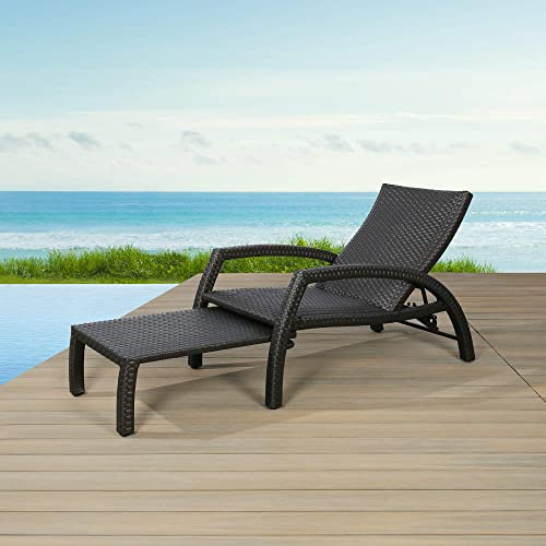Ulax Furniture Outdoor Wicker Convertible Chaise Lounge Patio Woven Padded Aluminum Lounger Adjustable Chair with Quick Dry Foam