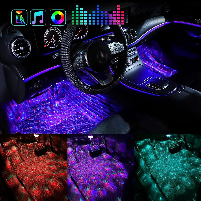 별이 빛나는 인테리어 자동차 조명을 LED 자동차 빛을 내는 RF 를 가진 원격 네 라인 방수 디자인 별이 빛나는 지도된 차 빛 DIY 멀티 컬러 음악 동기화에 대쉬 자동차 조명 장비 모 DC12V