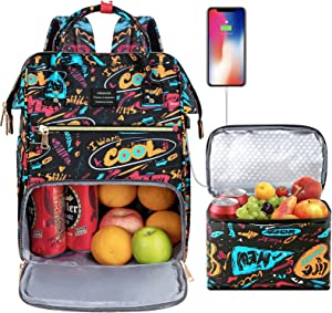 Lunch Backpack for Women, VSNOON 15.6 inches Cooler Backpack with Removable Leak-proof Insulated Tote Lunch laptop backpack & USB Port for Women for Nurse Work/School/Travel/Picnic