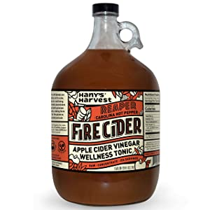 Hany's All Natural Carolina Reaper Fire Cider Tonic with Raw Unfiltered Apple Cider Vinegar, Honey, Lemon, Yellow Onion, Garlic, Ginger, Horseradish, Cayenne Pepper, Turmeric, Carolina Reaper 1 gal