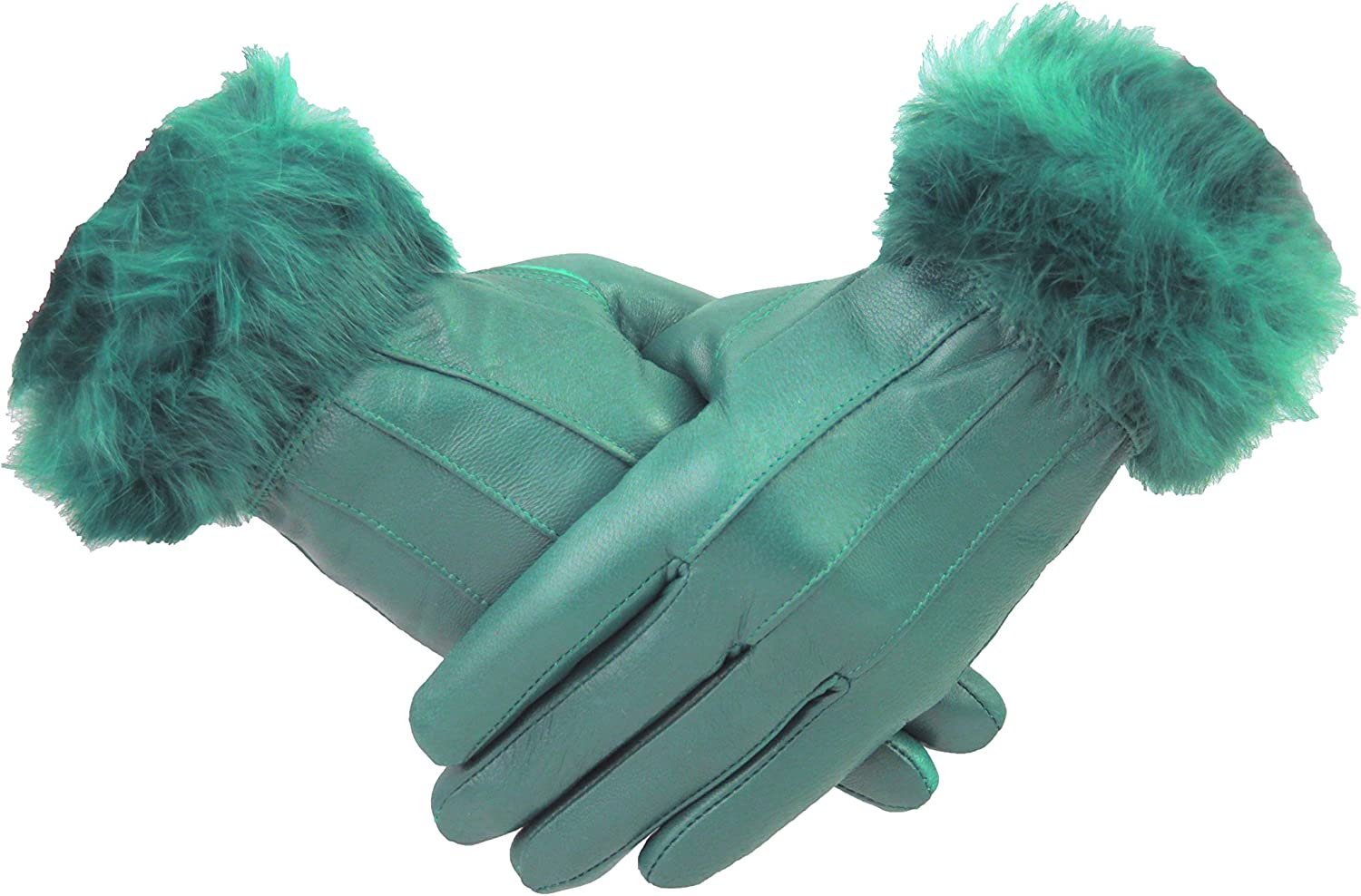 Womens 100/% Leather Winter Gloves With Fur Trim Fleece Lined Warm Ladies