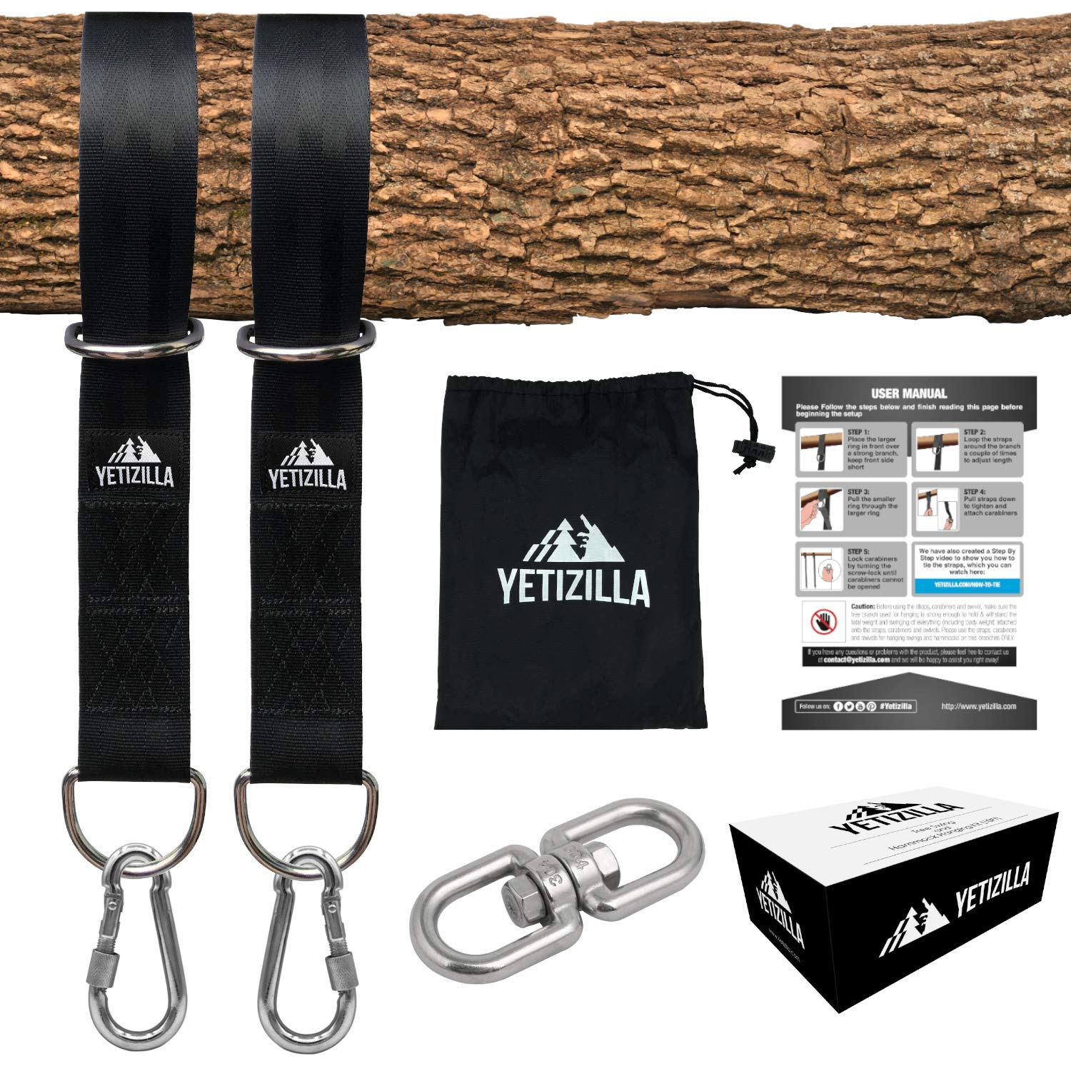 Yetizilla Tree Swing Hanging Kit 2X 10ft Extra Long Adjustable Tree Swing Straps with Swivel, Rustproof Lock-Screw Carabiners & Strong Hooks -Portable Hammock Hanger Accessories - Holds 2000lbs by Yetizilla