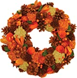 """Northlight 13"""" Autumn Harvest Hydrangea and Berry Artificial Floral Wreath - Unlit"""