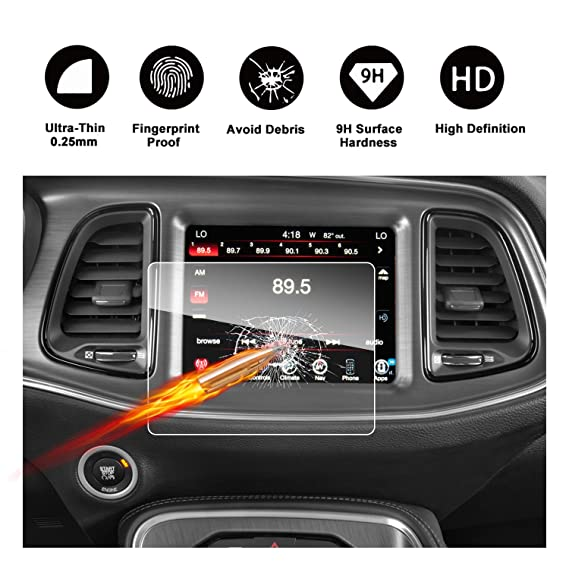 2015-2018 Dodge Challenger SRT 392 Hellcat Uconnect Touch Screen Car  Display Navigation Screen Protector, RUIYA HD Clear TEMPERED GLASS Car  In-Dash