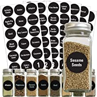 126 Chalkboard Spice Label: 96 Spice Names + 18 Blank Labels +Numbers +Pantry Food by Talented Kitchen. Black Chalk Sticker Water Resistant. Stickers for Jars Bottles Canisters Food Storage Containers