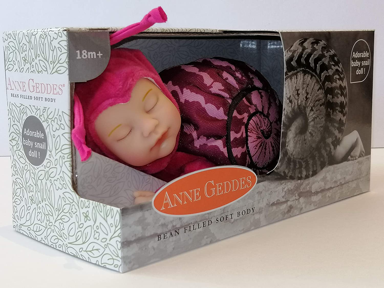Bean Filled Soft Body Pink Snail 9 inch Baby Doll Anne Geddes 579169 Bambolina Bambola Rosa Baby Lumaca