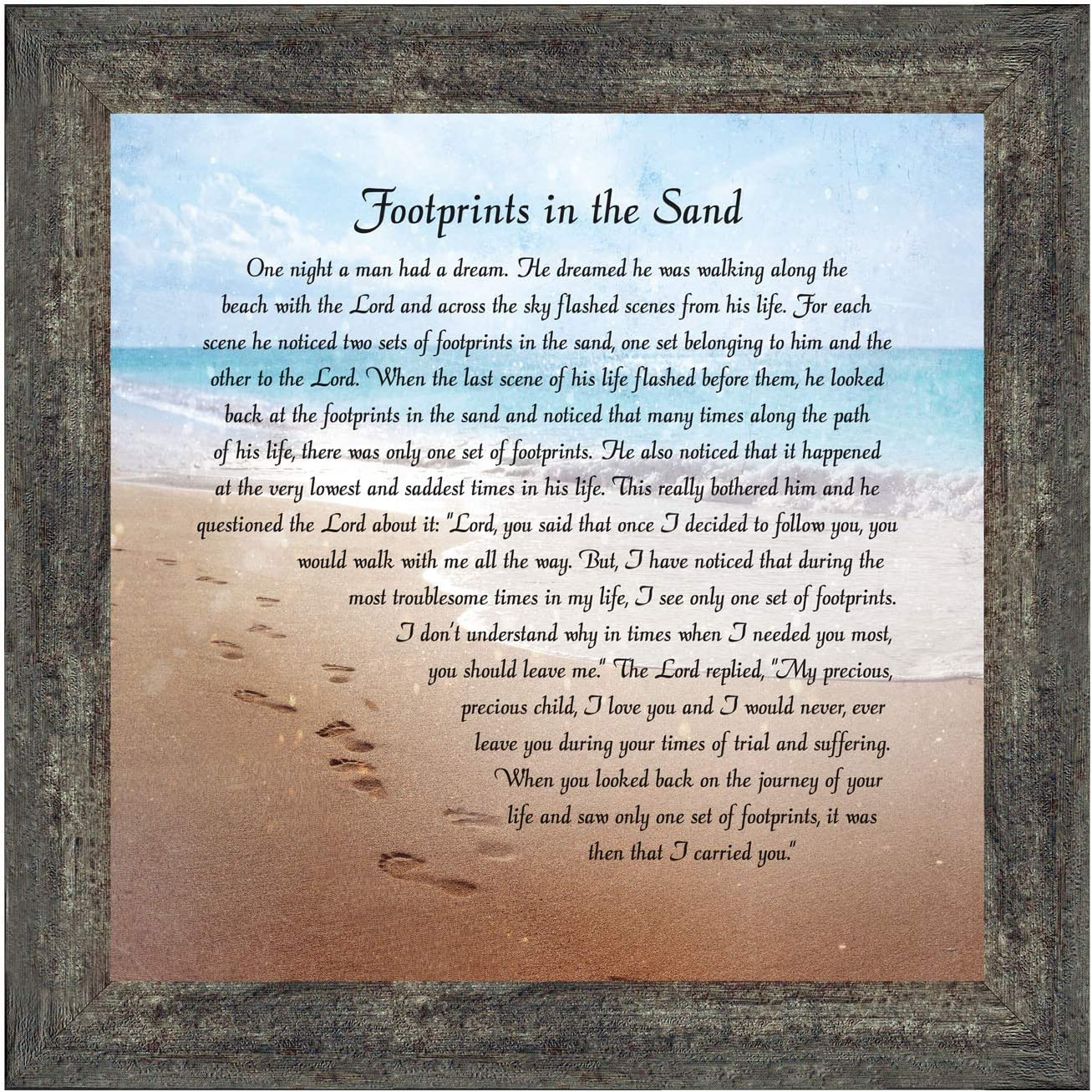 Footprints in The Sand Inspirational Wall Art, Beach Decor, Christian Gifts for Women and Men, Christian Wall Decor, Get Well Soon, Encouraging Scripture Wall Art, Framed Sympathy Gift 8639BW