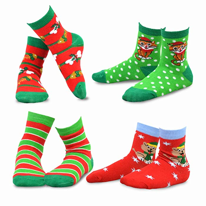 Amazon.com: TeeHee Christmas Kids Cotton Fun Crew Socks 4-Pair Pack ...