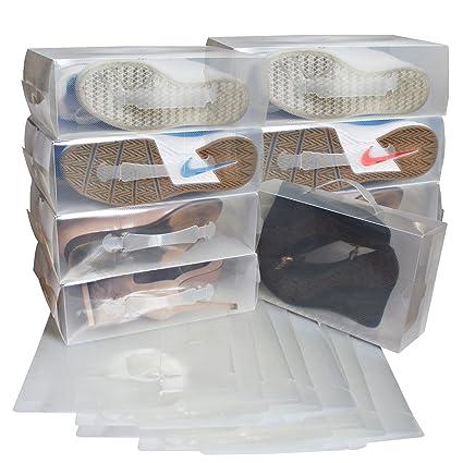 Kurtzy Zapatos apilable plegable Organizador transparente para hombres y mujeres Pack de 20 cajas Ahorre zapatos
