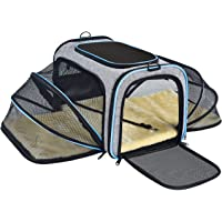 OMORC Pet Carrier Airline Approved, Expandable Foldable Soft-Sided Dog Carrier, 3 Open Doors, 2 Reflective Tapes, Pet Travel Bag Safe and Easy for Cats and Dogs