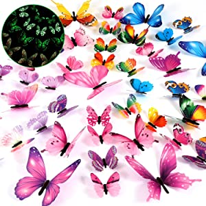96 Pieces Luminous 3D Butterfly Wall Decors Christmas Home Decoration Removable Butterfly Stickers DIY Art Crafts Decor for Bedroom Home Decorations