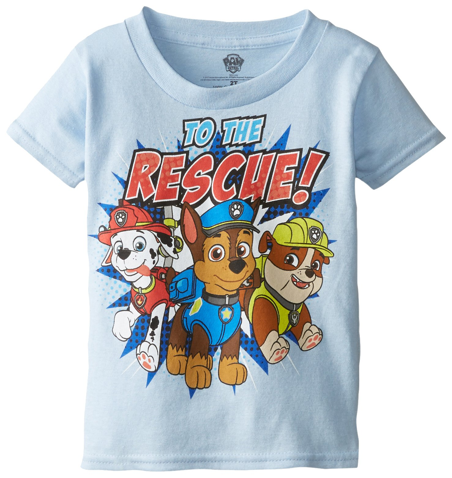 Paw Patrol Little Boys' Toddler Short Sleeve T-Shirt, Sky Blue, 3T