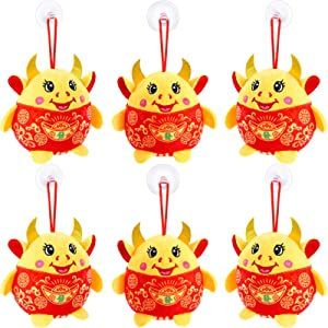 Chinese New Year Red Ox Ornament Decorations 2021 Year of The Ox Festival Decoration Good Luck Plush Red Mascot Cattle Cow Stuffed Animal Table Shelf Decor Home Figurines, 6 Pieces