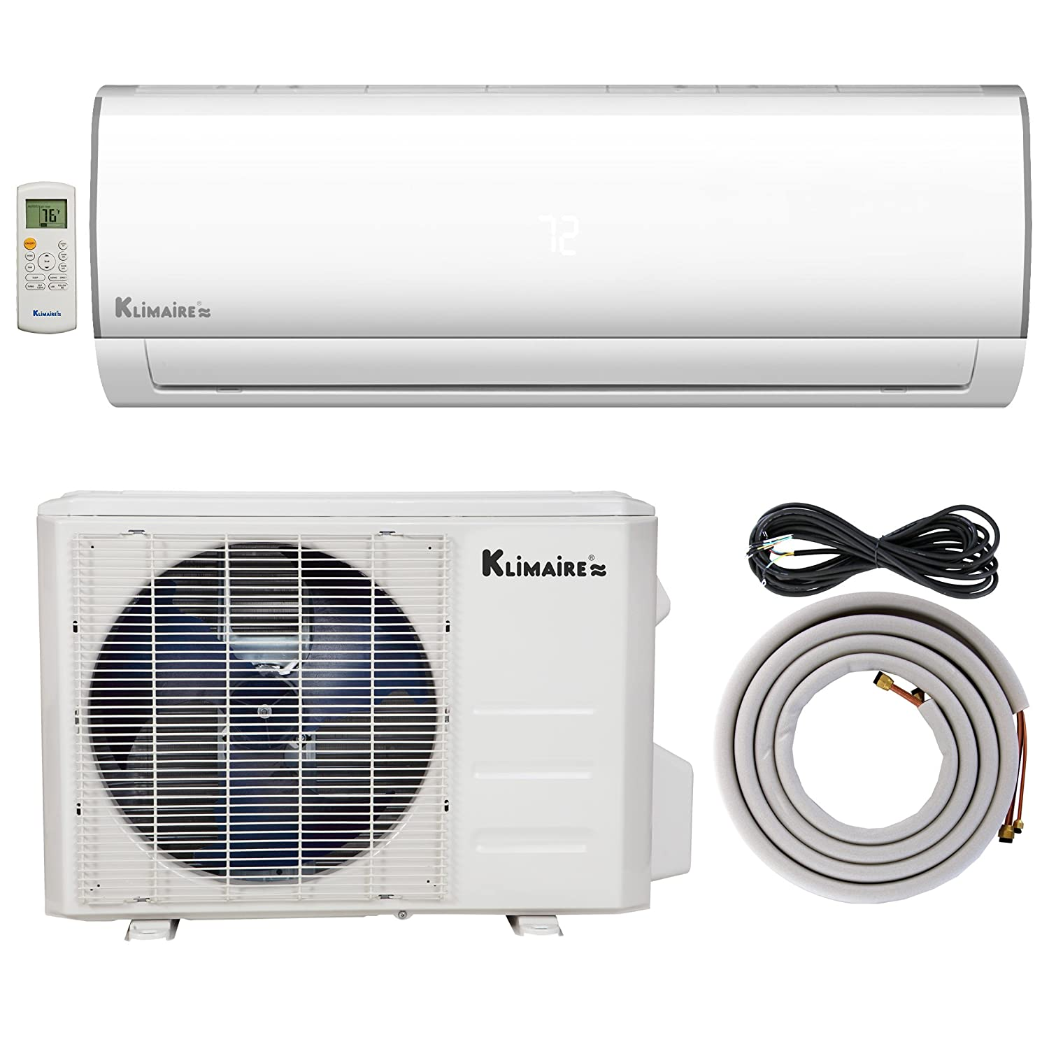 Amazon.com: Klimaire 24,000 BTU Ductless Mini-Split Inverter Air  Conditioner Heat Pump System with 16-ft. Installation Kit & Wall Bracket  (230V) 15.5 SEER: ...