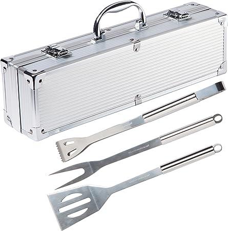 Blusmart Grillbesteck Koffer Edelstahl Profi 9-teilig im Aluminium BBQ Set