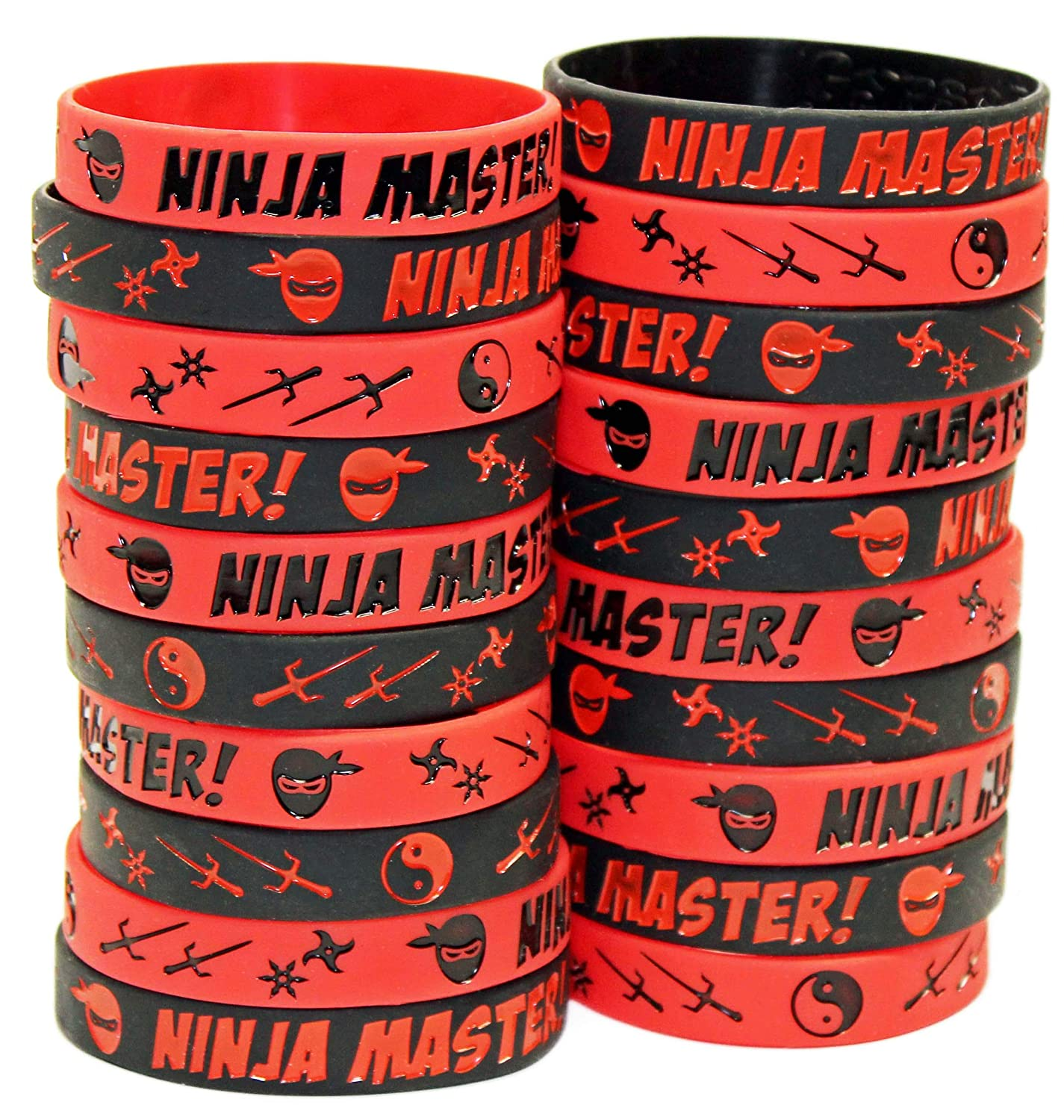 Gypsy Jade's Ninja Master Silicone Wristbands - Ninja Party Favors - Perfect for Ninja Warrior Birthday Party Theme! (20 Solid Color Bands)