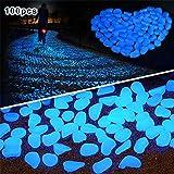 Golf 100 Pcs Luminous Cobblestones Pebbles Stones Glow in the Dark for Aquarium Fish Tank Gravel Decorations,Fantastic Garden or Yard (Blue)