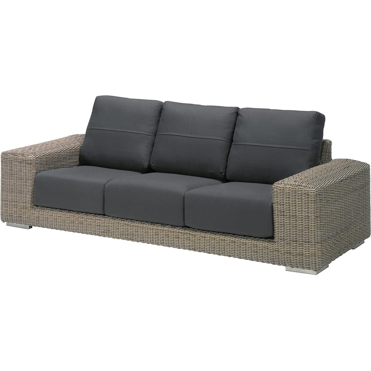 4Seasons Outdoor Kingston 3-Sitzer Loungesofa Polyrattan pure inkl 6 Kissen