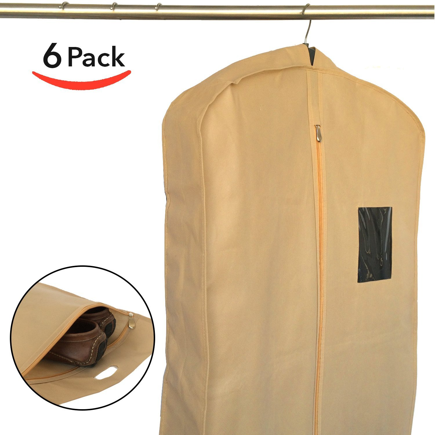Set of 6 Breathable Garment Bags for Clothes Storage, Travel - Suit Bag Cover for Men by Home Haven